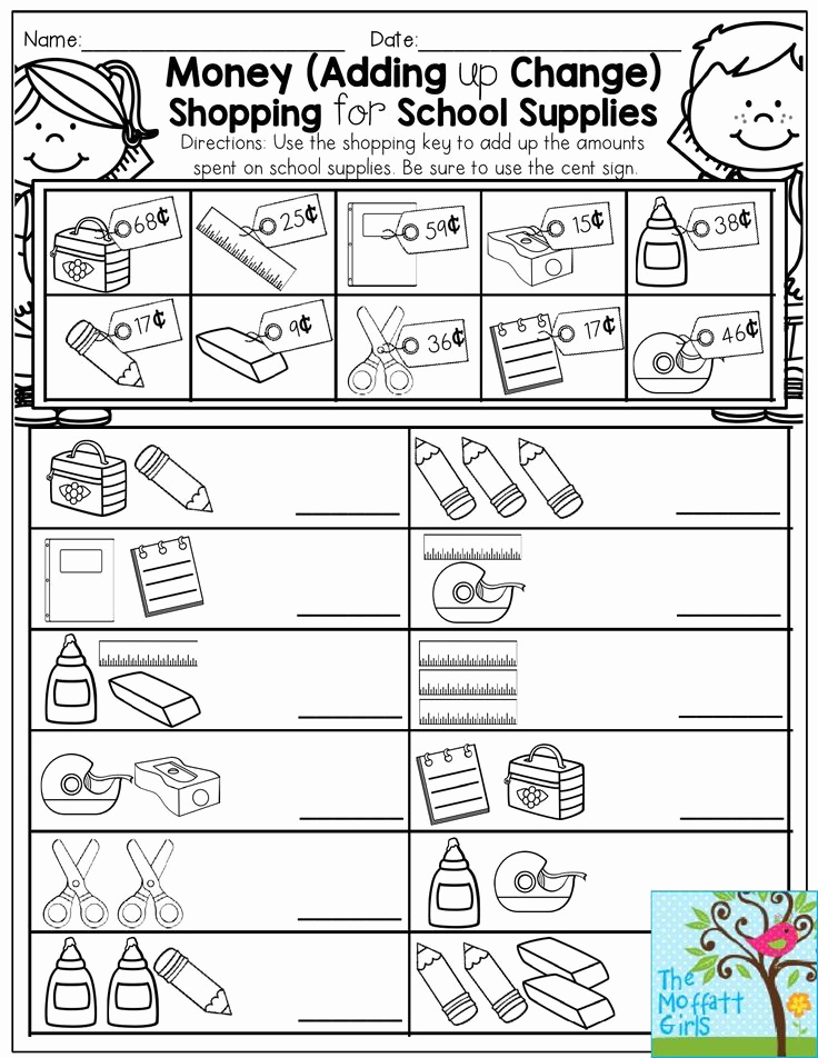 Money Worksheets 3rd Grade Awesome Money Adding Up Change Shopping for School Supplies