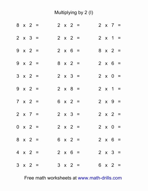 Multiplication Facts Worksheet Generator Inspirational 36 Horizontal Multiplication Facts Questions 2 by 0 9 I