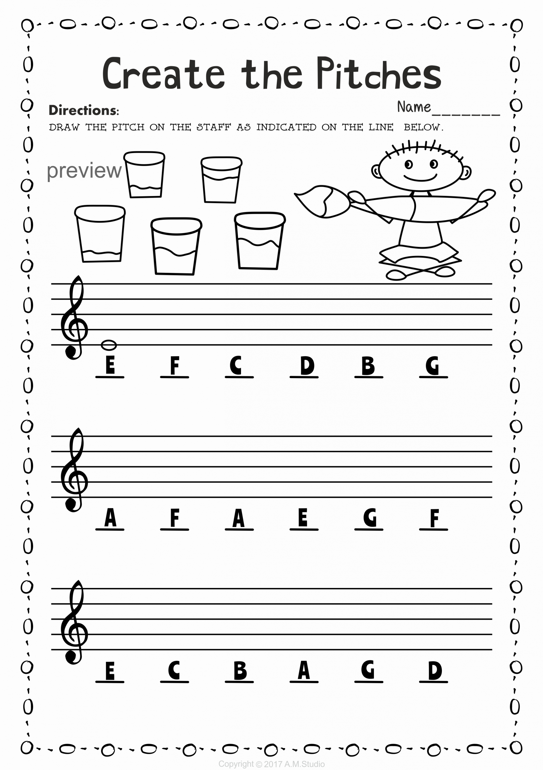 Music theory Worksheet for Kids Awesome Back to School Music Staff Worksheet Bundle