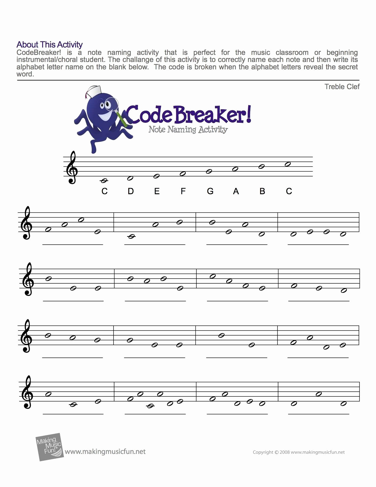 Music theory Worksheet for Kids Awesome Treble Clef Notes Worksheet Treble Clef Fun Note Reading