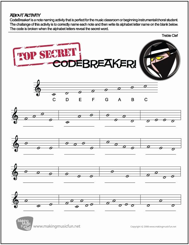 Note Speller Worksheets Awesome Codebreaker Music theory Worksheet Treble Clef Note