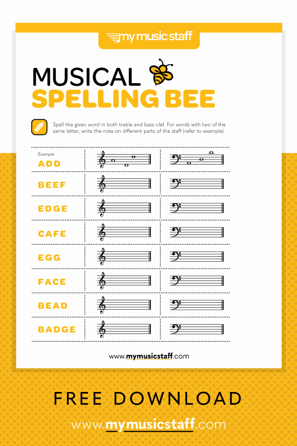 Note Speller Worksheets Unique Musical Spelling Bee Free Music Activity Sheet From
