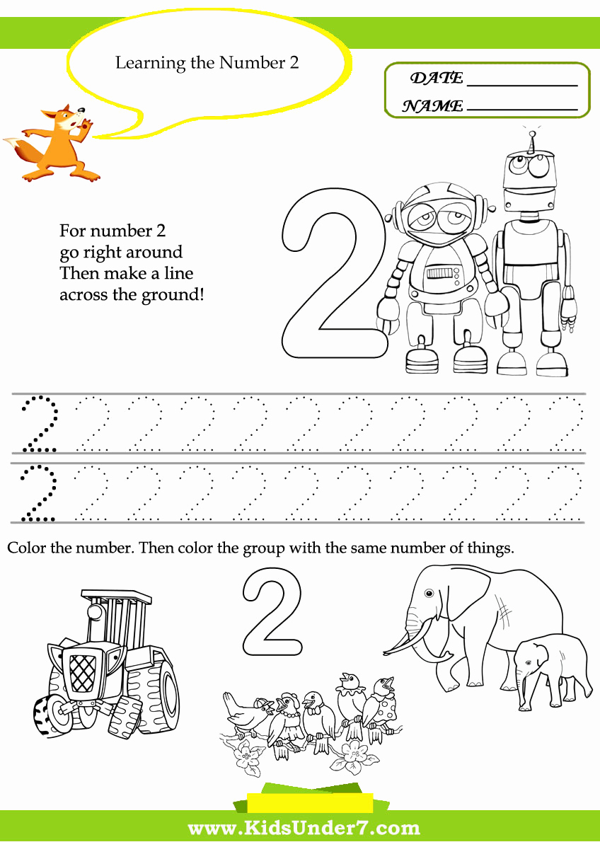 Number 2 Worksheets for Preschool Beautiful Number 2 Worksheets for Kindergarten