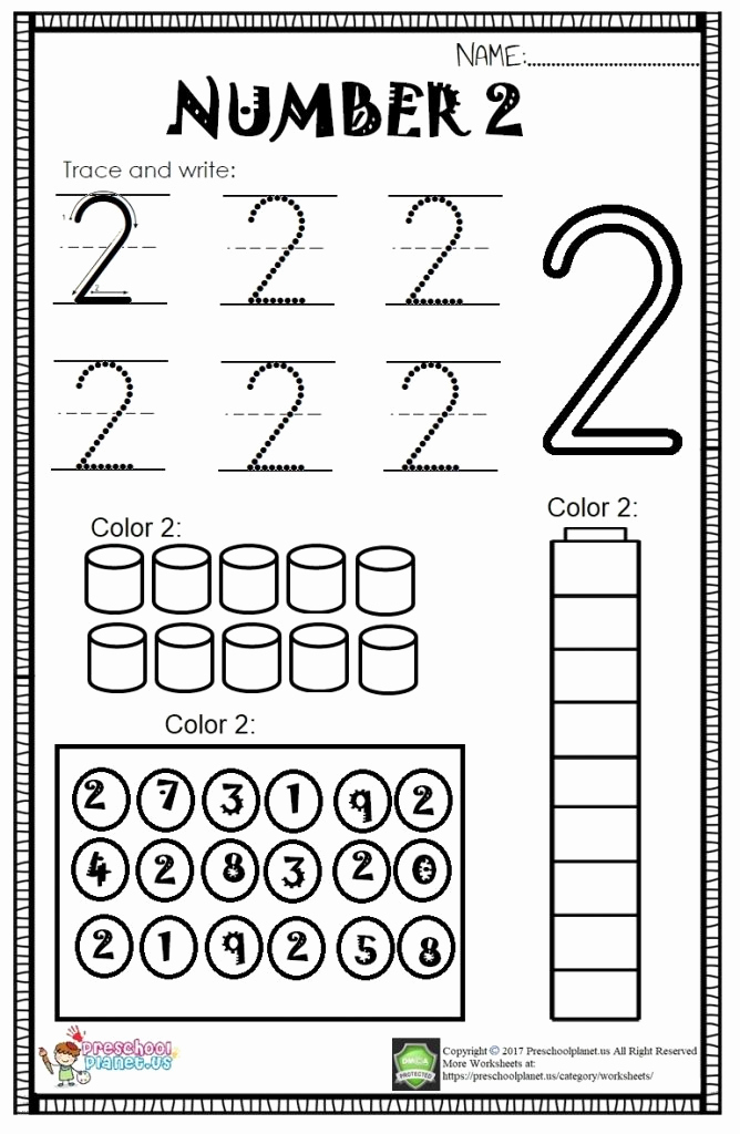 Number 2 Worksheets for Preschool Inspirational Number 2 Worksheet for Kids – Preschoolplanet