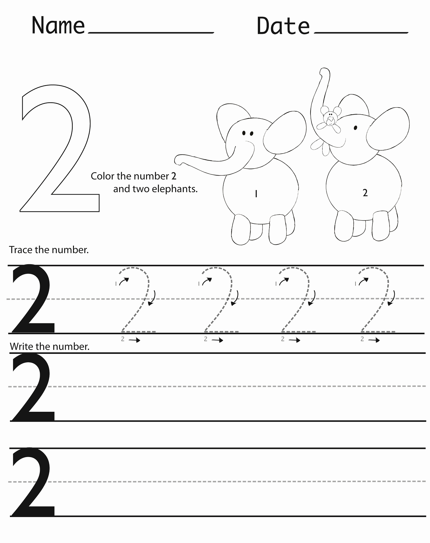 Number 2 Worksheets for Preschool Lovely Preschool Worksheets Number 2