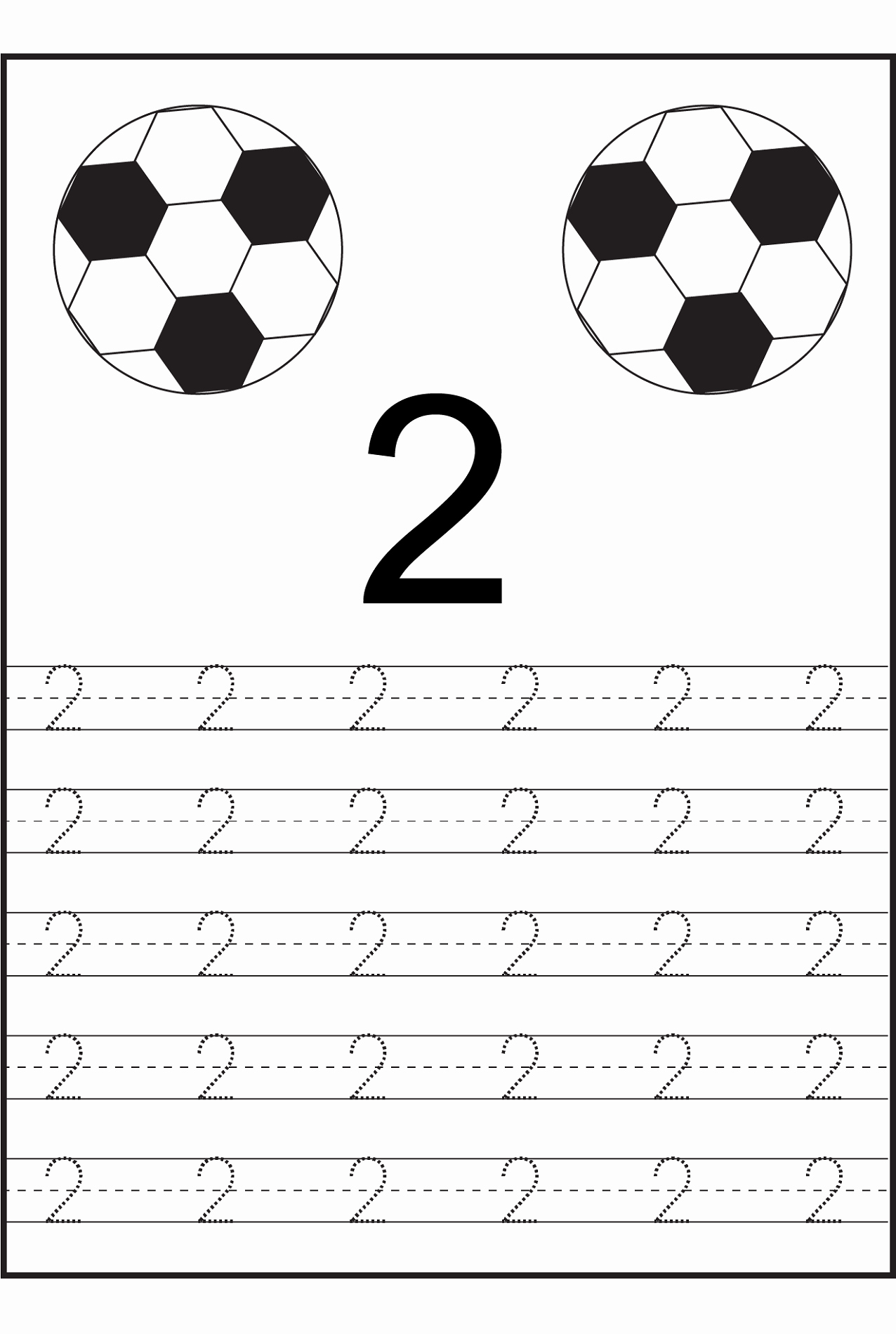 Number 2 Worksheets for Preschool Lovely Trace Number 2 Worksheets