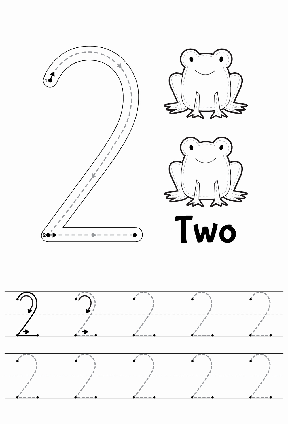 Number 2 Worksheets for Preschool Luxury Tracing Numbers