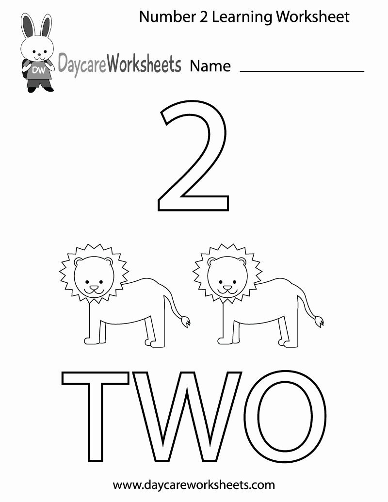 Number 2 Worksheets for Preschool New Free Preschool Number Two Learning Worksheet