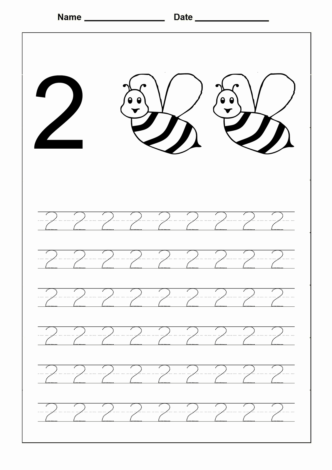 Number 2 Worksheets for Preschool New Trace Number 2 Worksheets
