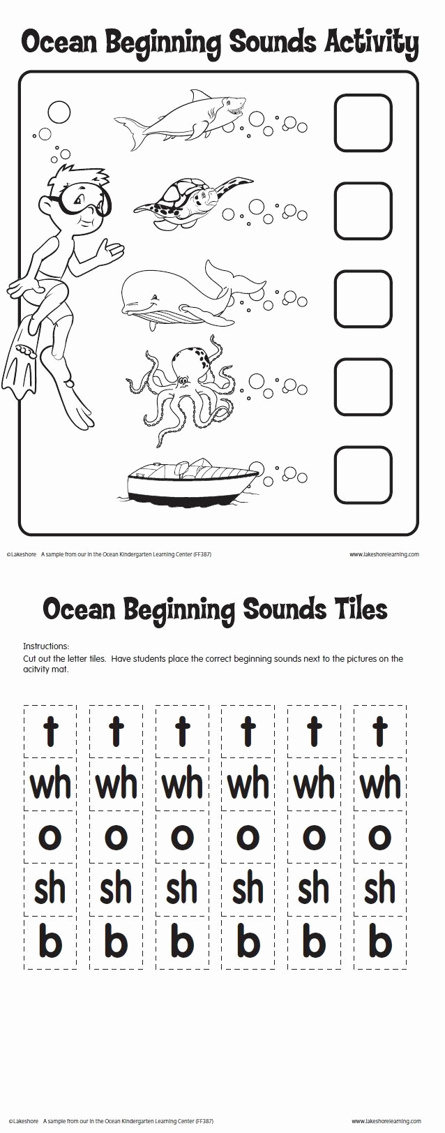 Ocean Worksheets for Preschool Awesome Ocean Beginning sounds Activity Printable From Lakeshore