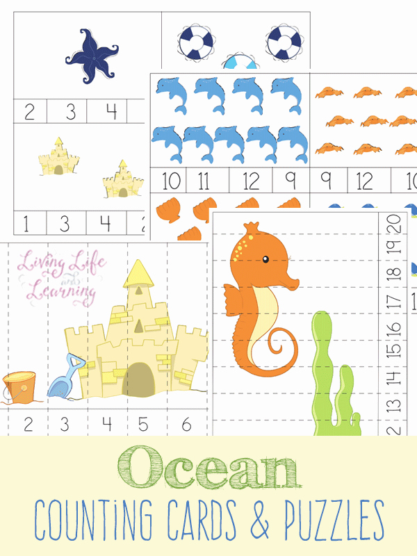 Ocean Worksheets for Preschool Beautiful Ocean Counting Cards and Puzzles