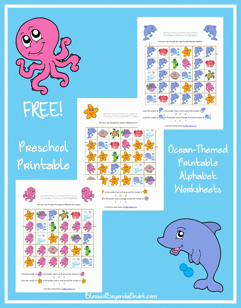 Ocean Worksheets for Preschool Luxury Free Ocean themed Printable Alphabet Worksheets for