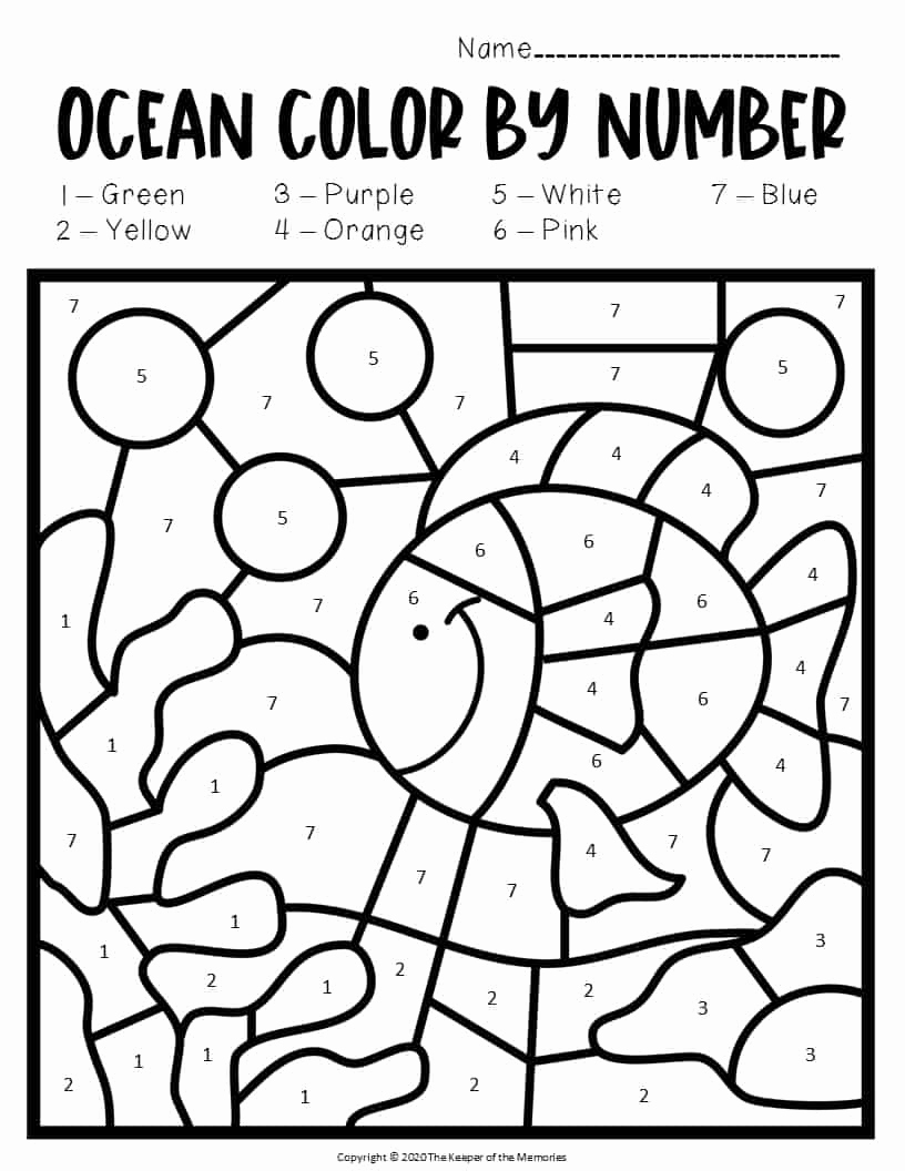 Ocean Worksheets for Preschool New Color by Number Ocean Preschool Worksheets Under the Sea