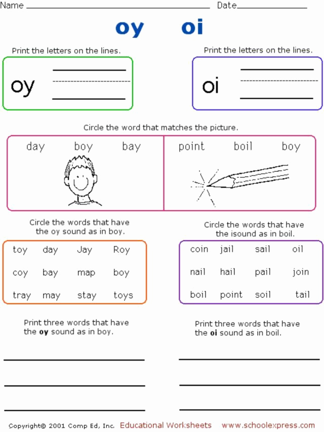 "Oi Oy Worksheet New Phonics ""oy"" and ""oi"" sounds 1st 2nd Grade Worksheet"