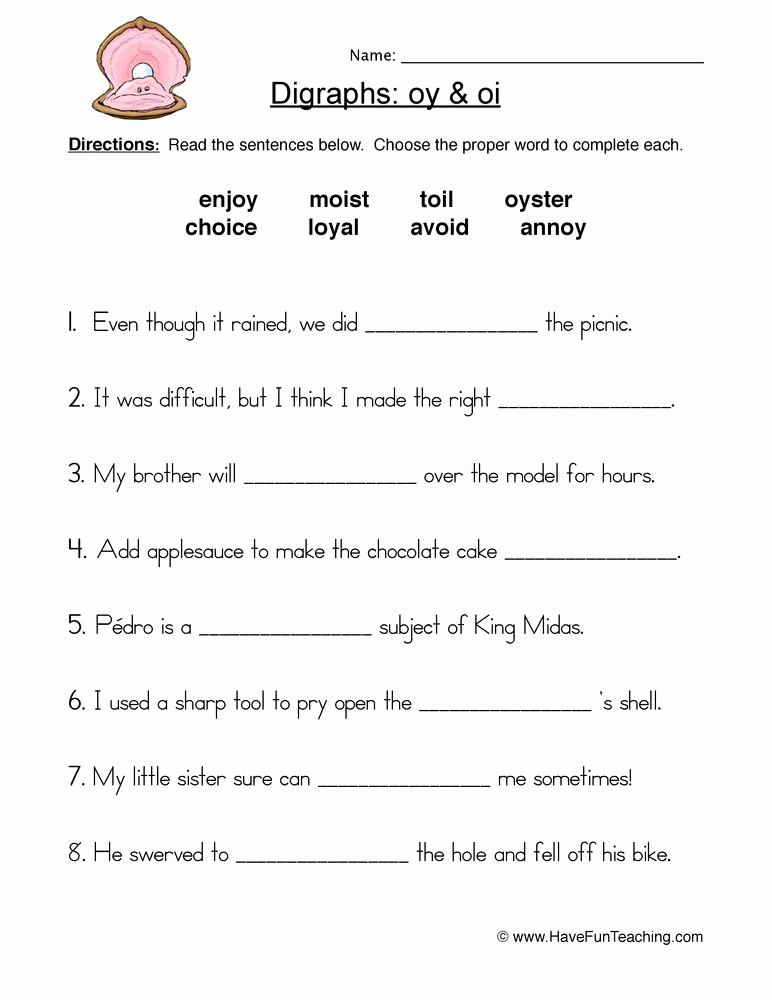 Oi Words Worksheet Fresh Oi Oy Digraphs Worksheet 1 772×1 000 Pixels