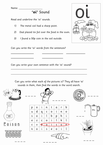 Oi Words Worksheet Inspirational Oi sound Activity Sheet