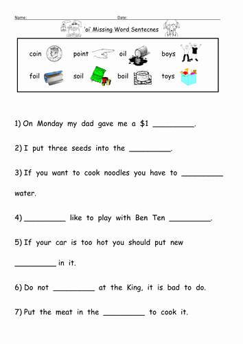 Oi Words Worksheet Unique Oi Digraph Worksheets by Barang Teaching Resources Tes