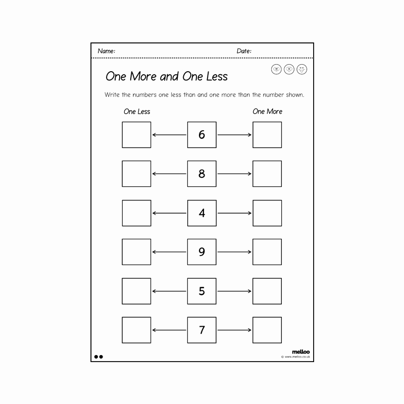 One Less Worksheet Unique E More and E Less to 10 Worksheets Year 1