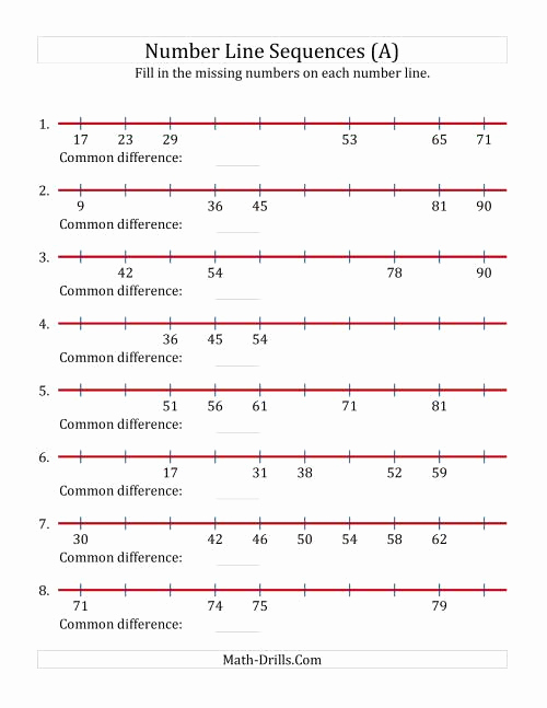 Open Number Line Worksheets New Increasing Number Line Sequences with Missing Numbers Max