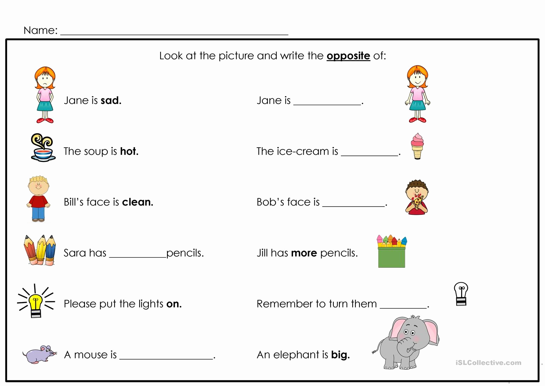 Opposites Preschool Worksheets Lovely Opposites Worksheet Free Esl Printable Worksheets Made