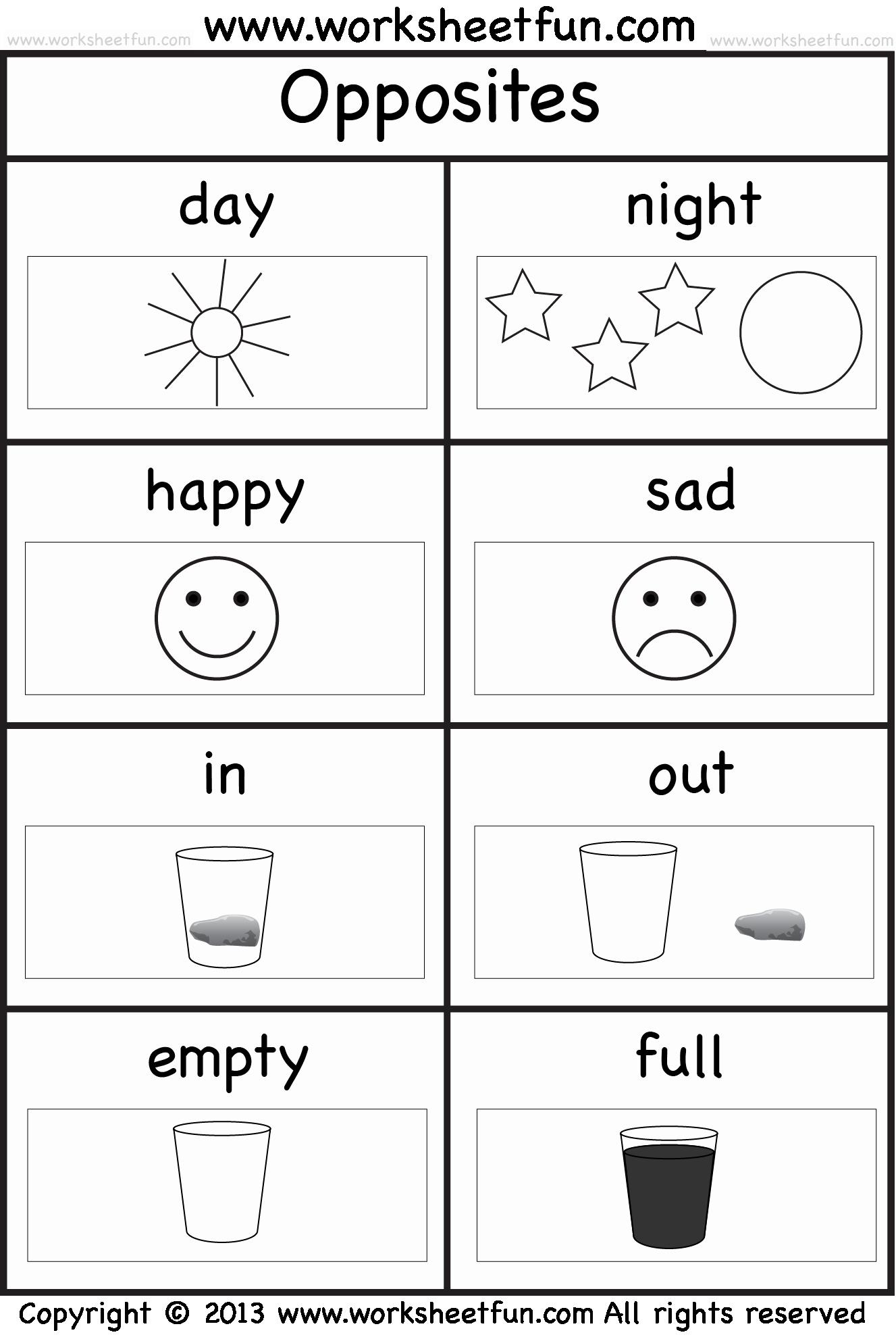 Opposites Preschool Worksheets Unique Opposites – 2 Worksheets Free Printable Worksheets