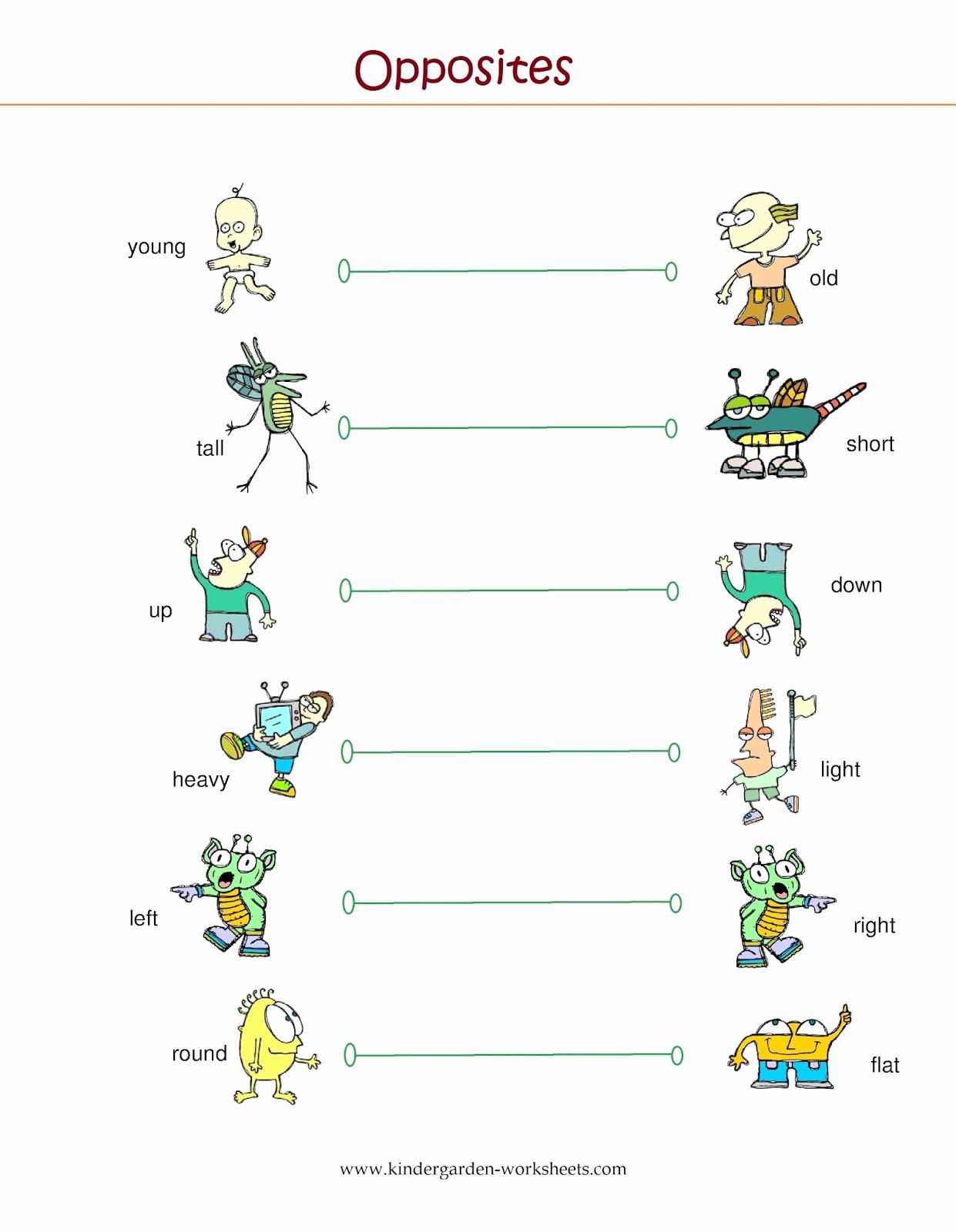 Opposites Worksheet for Kindergarten Elegant Kindergarten Worksheets Kindergarten Worksheets Opposite