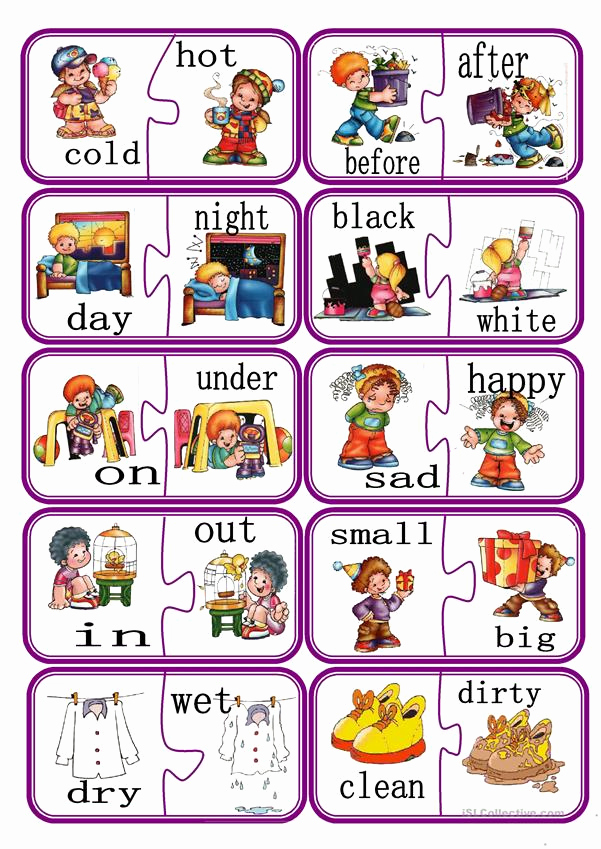 Opposites Worksheet for Kindergarten Elegant Opposites Puzzle Game Part 1 Worksheet Free Esl