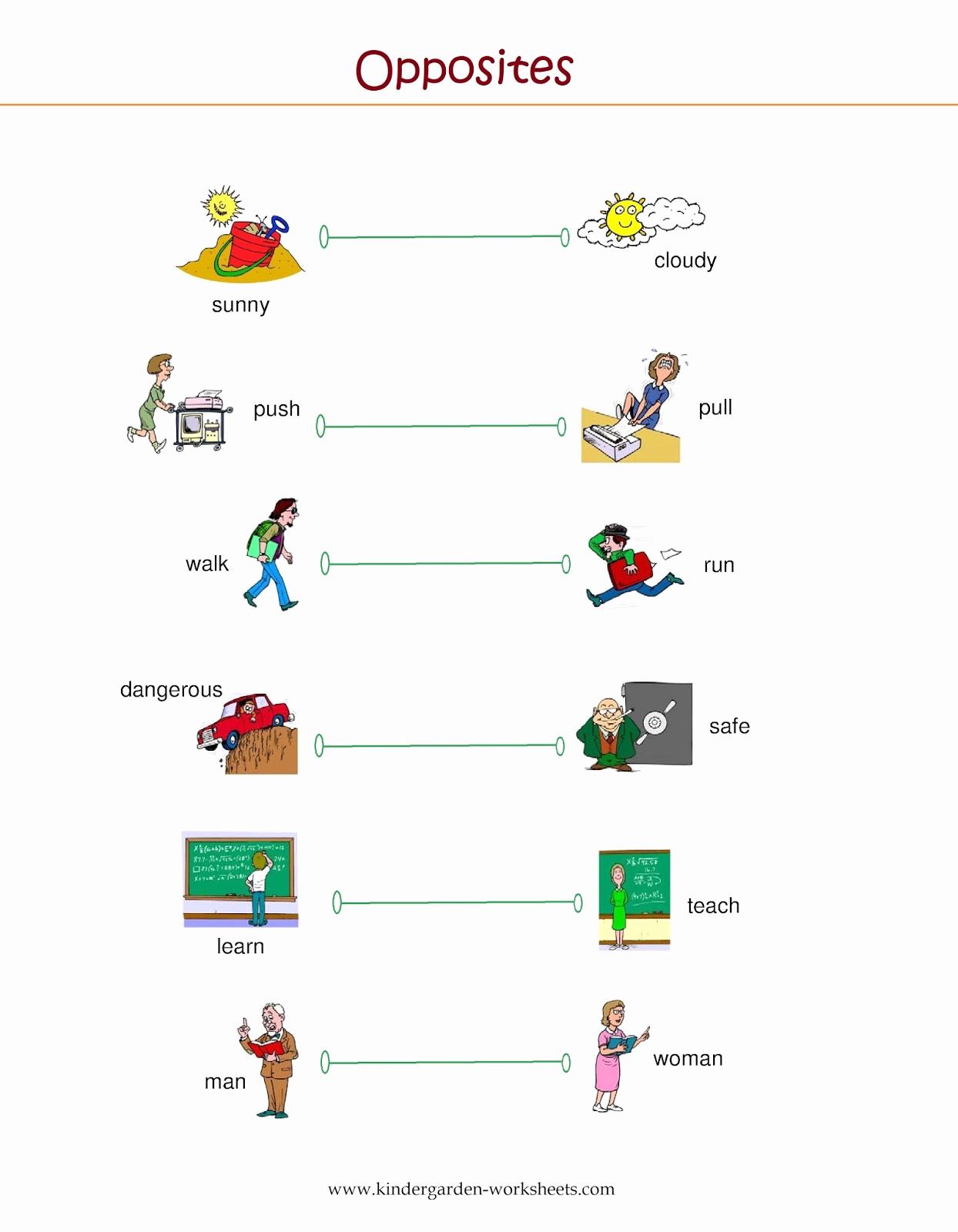 Opposites Worksheet for Kindergarten Inspirational Kindergarten Worksheets Kindergarten Worksheets Opposite
