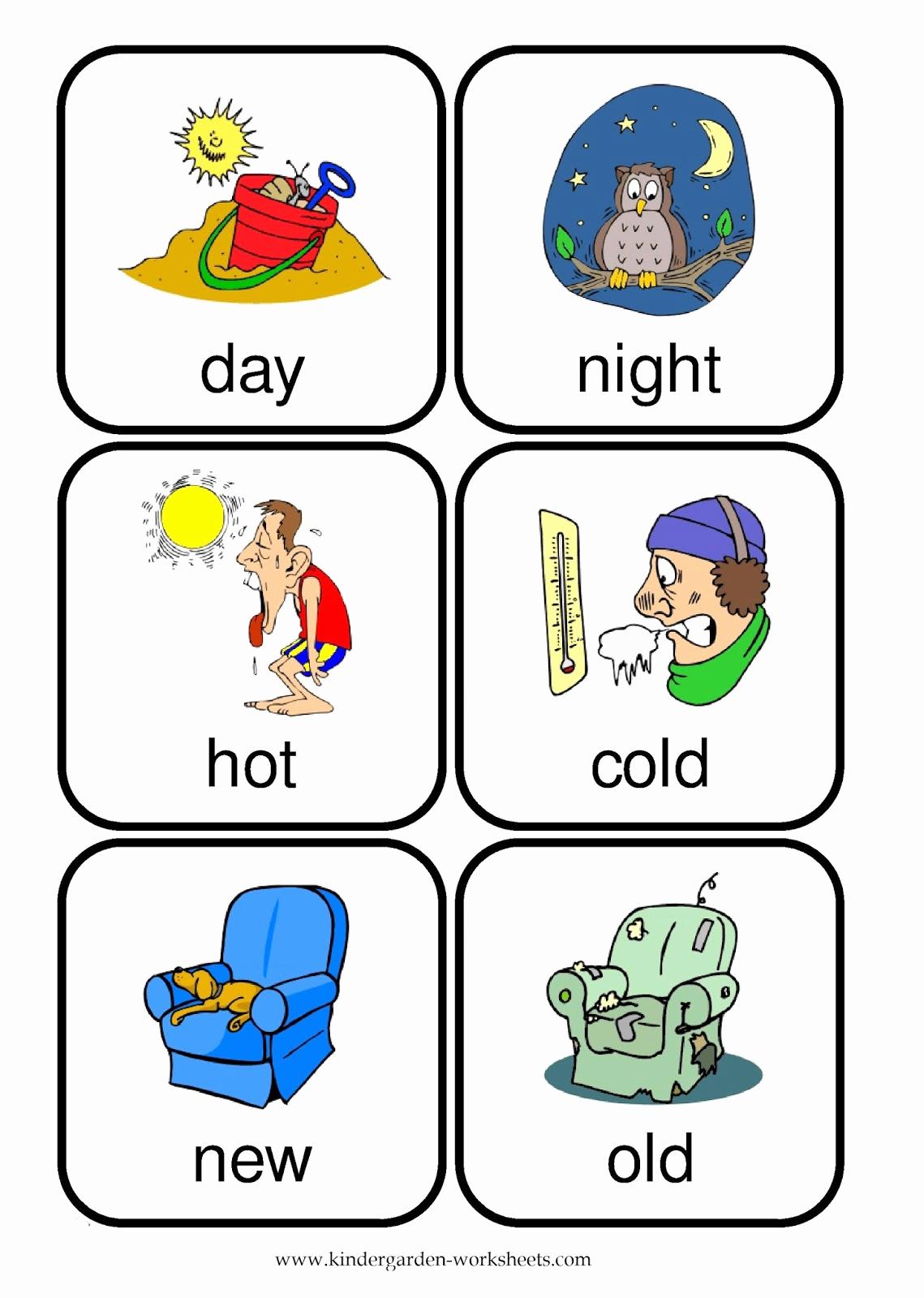 Opposites Worksheet for Kindergarten Luxury Kindergarten Worksheets Flashcards Opposite Words