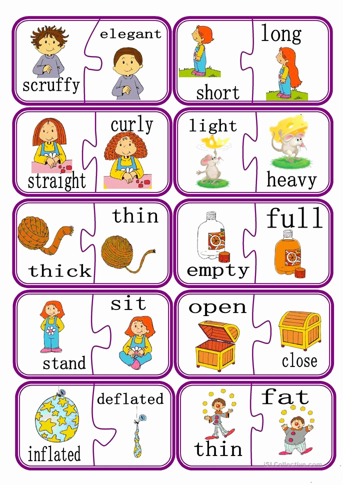 Opposites Worksheet for Kindergarten New Opposites Puzzle Game Part 2 Worksheet Free Esl