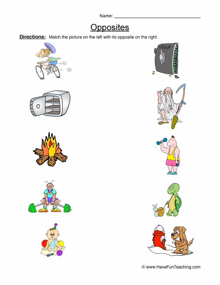 Opposites Worksheet for Preschool Beautiful Opposites Worksheets