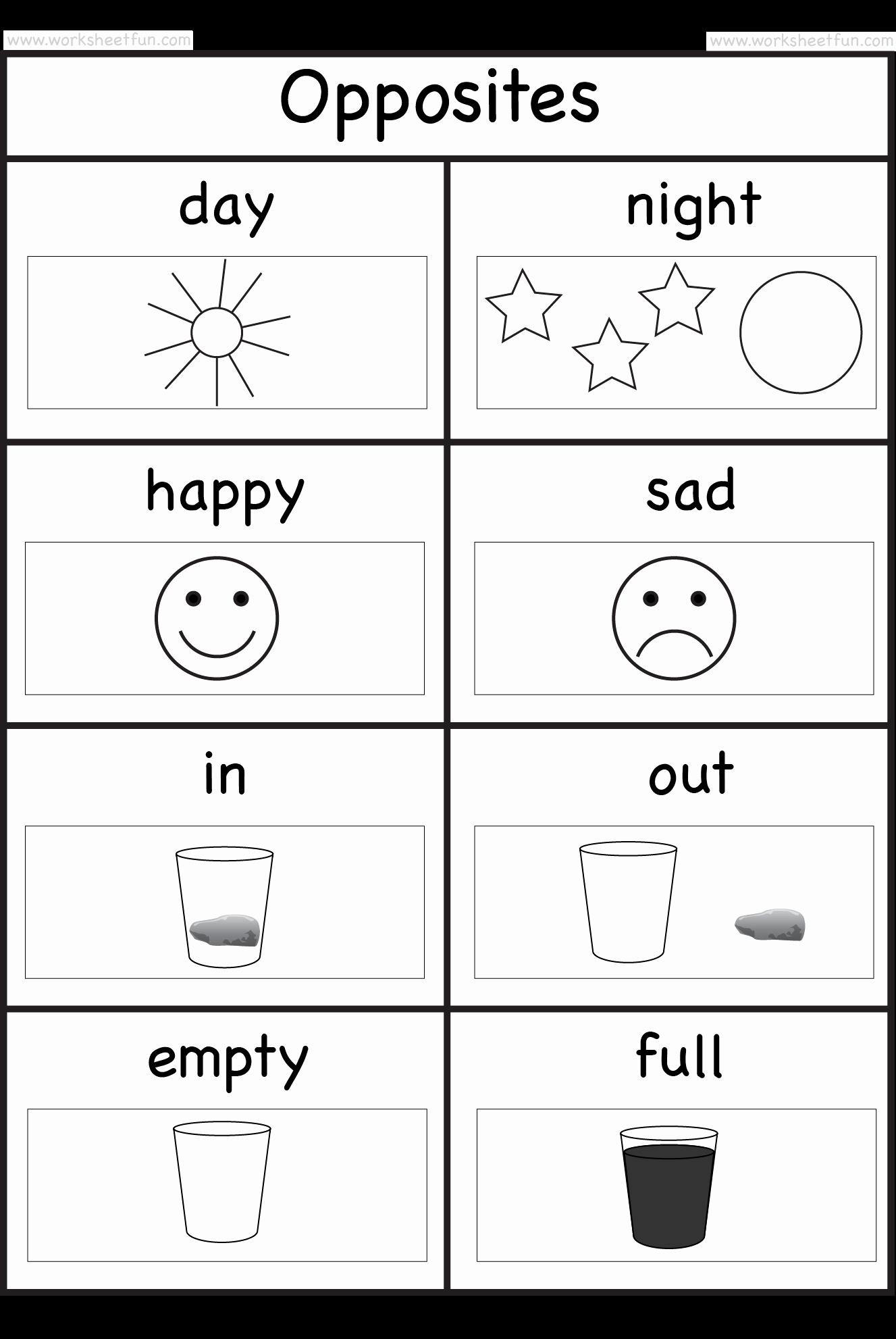 Opposites Worksheet for Preschool Best Of Match the Opposites Worksheet for Kindergarten