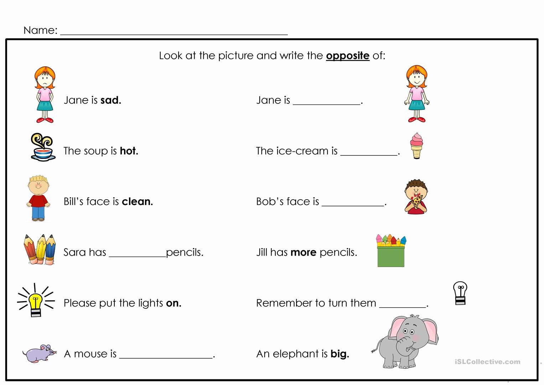 Opposites Worksheet for Preschool Elegant Opposites Worksheet Free Esl Printable Worksheets Made