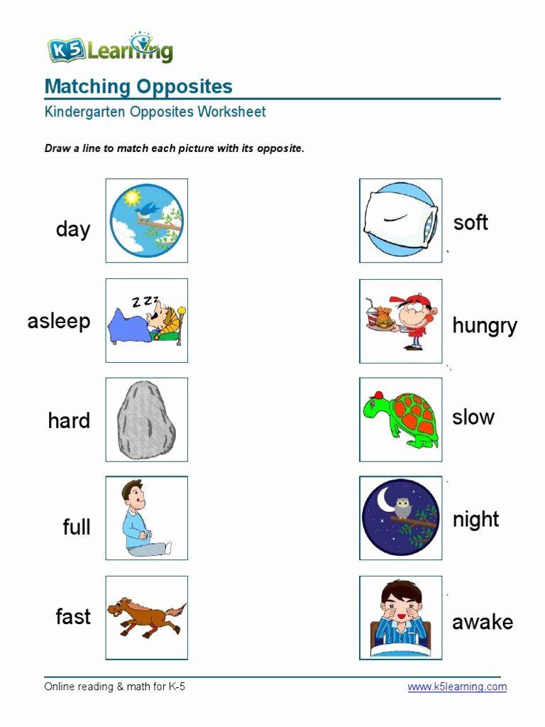 Opposites Worksheet for Preschool Inspirational Opposites Worksheet Kindergarten Kindergarten Matching