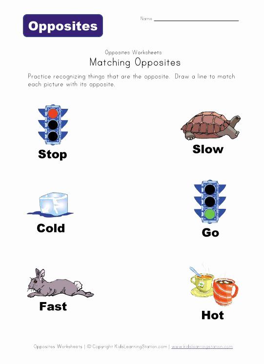 Opposites Worksheet for Preschool Lovely Match Opposites Worksheet