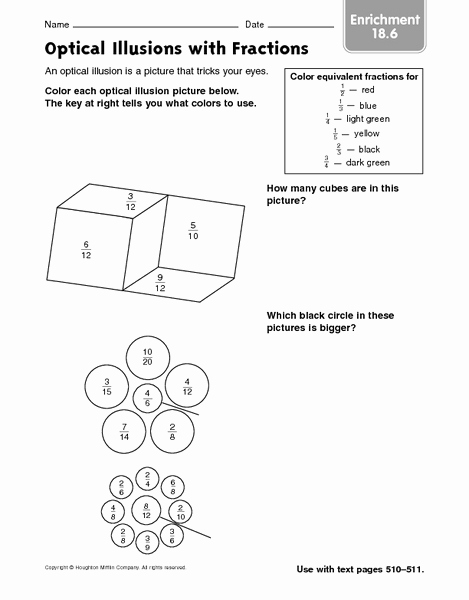 Optical Illusion Worksheets Printable Elegant Optical Illusions with Fractions Enrichment 18 6