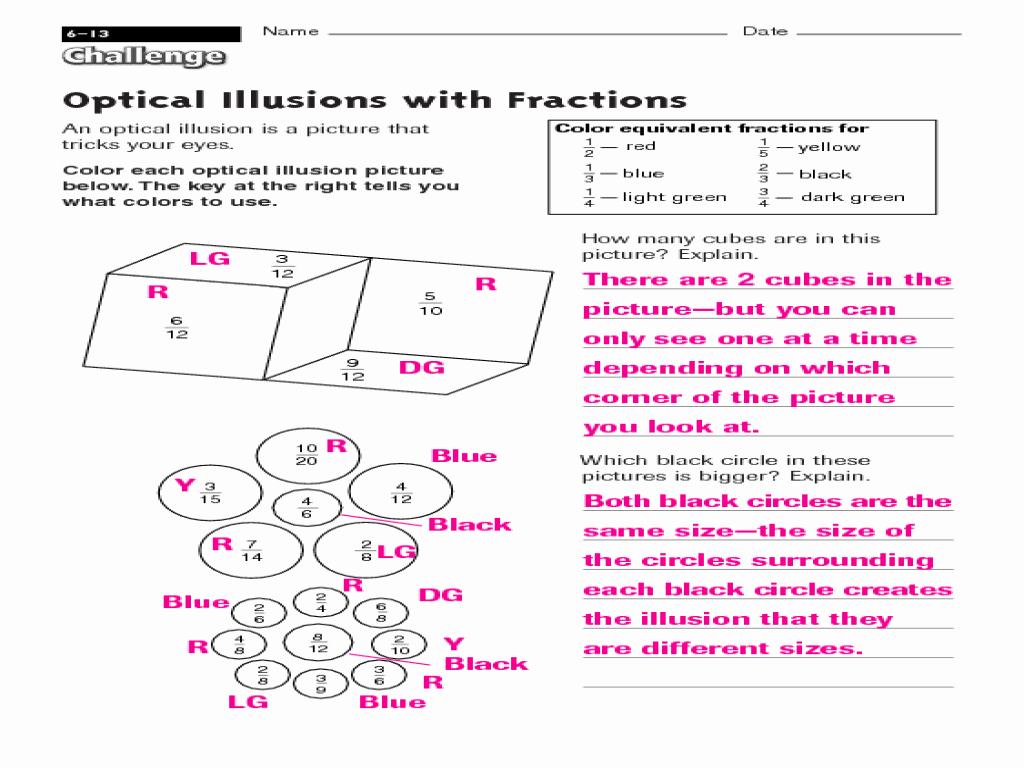 Optical Illusion Worksheets Printable Elegant Optical Illusions with Fractions Worksheet for 3rd 4th
