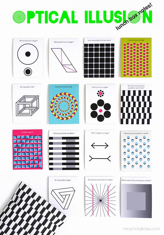 Optical Illusion Worksheets Printable Fresh Optical Illusion Lunch Box Notes Mr Printables