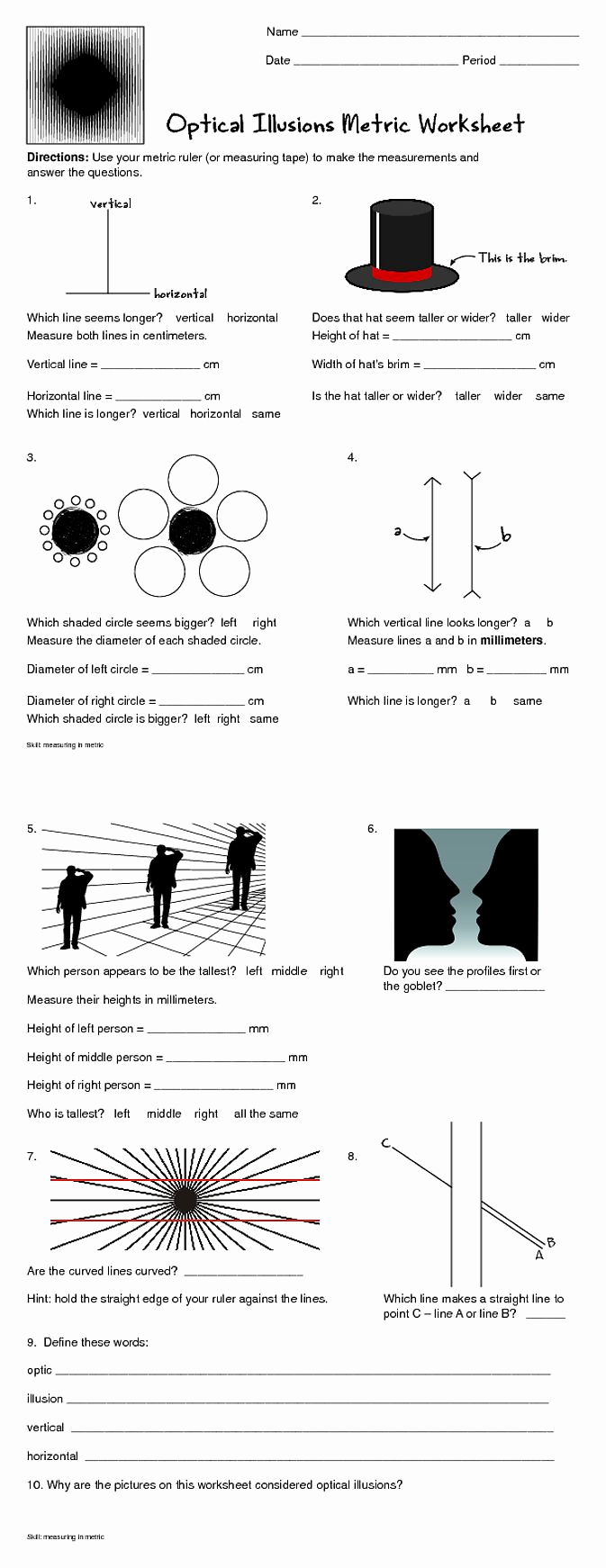 Optical Illusion Worksheets Printable Inspirational Practice Measuring In Metric with This Fun Worksheet that