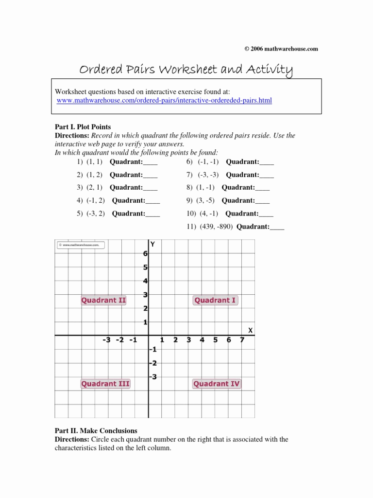 Ordered Pairs Worksheets Beautiful ordered Pairs Worksheet and Activity