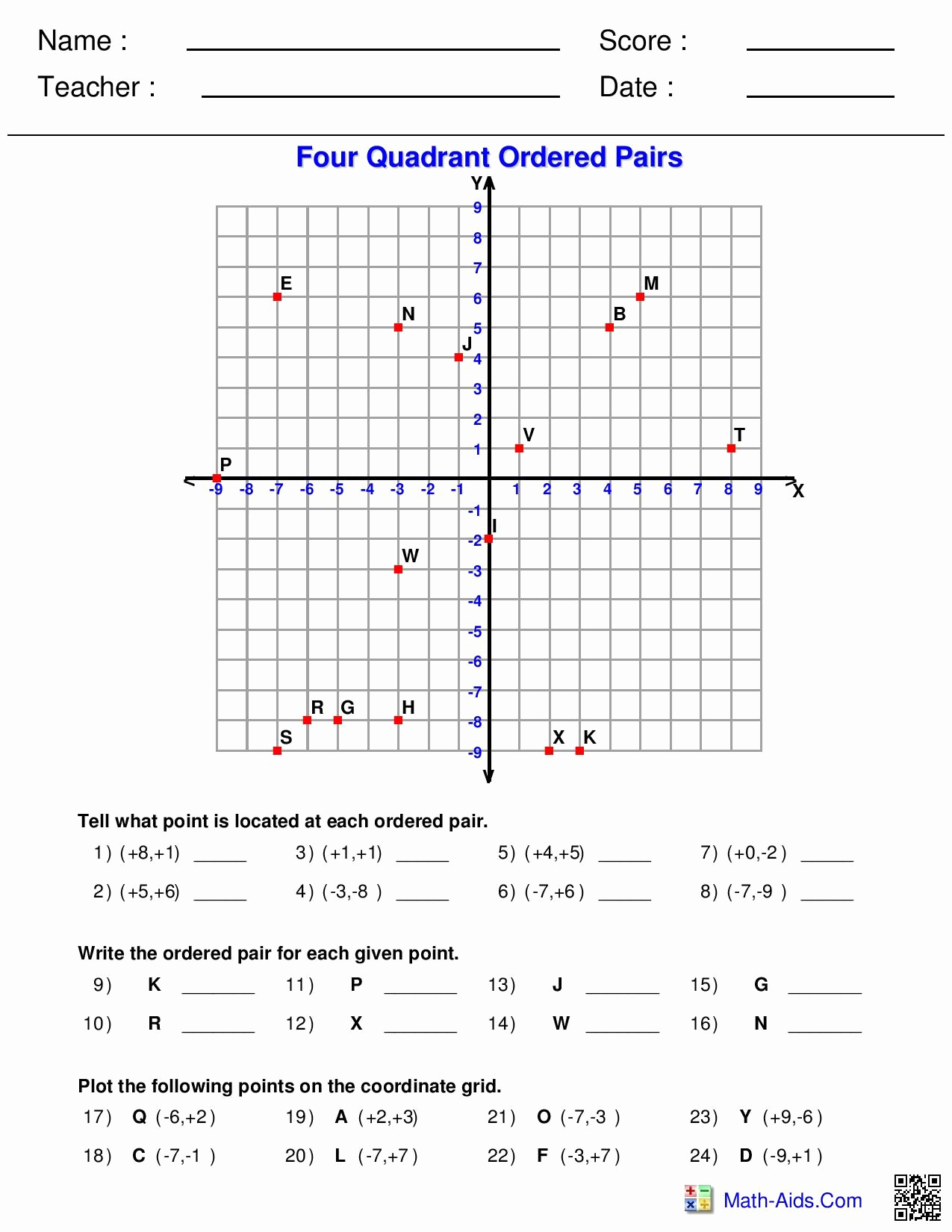 Ordered Pairs Worksheets Fresh Four Quadrant ordered Pairs Worksheet