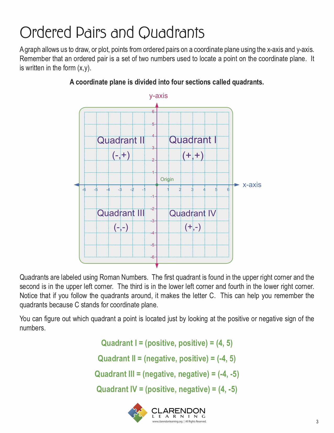 Ordered Pairs Worksheets Unique ordered Pairs and Quadrants Lesson Plan