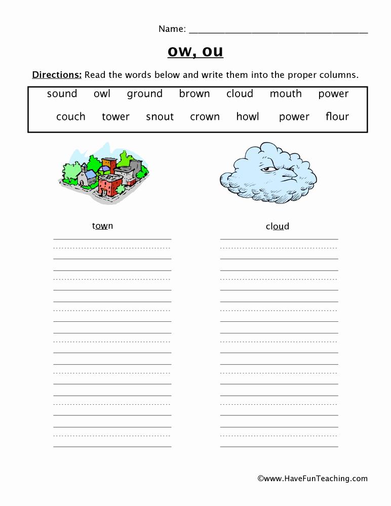 Ou Ow Worksheets 2nd Grade Elegant Ow Ou sorting Worksheet • Have Fun Teaching