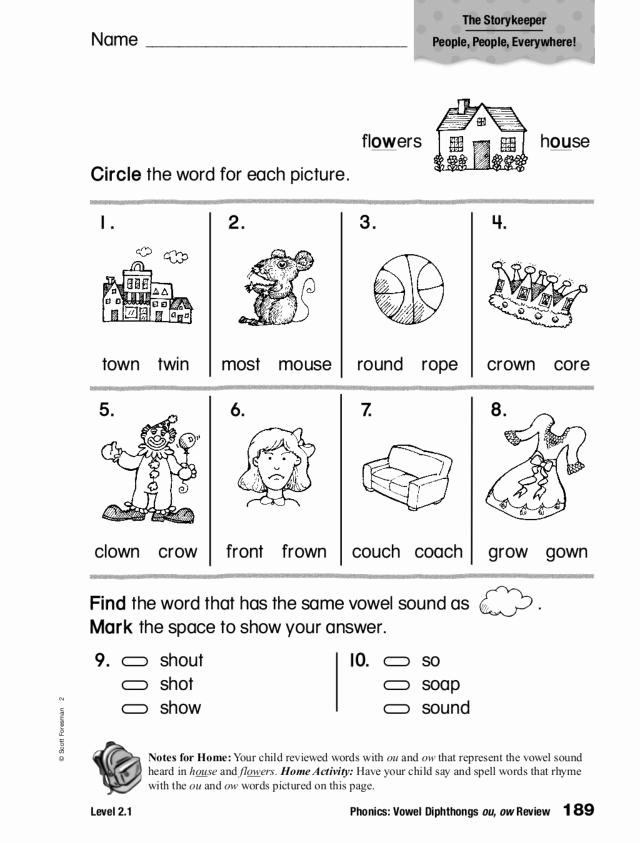 Ou Ow Worksheets 2nd Grade Elegant Phonics Vowel Diphthongs Ou Ow Review Worksheet for 1st