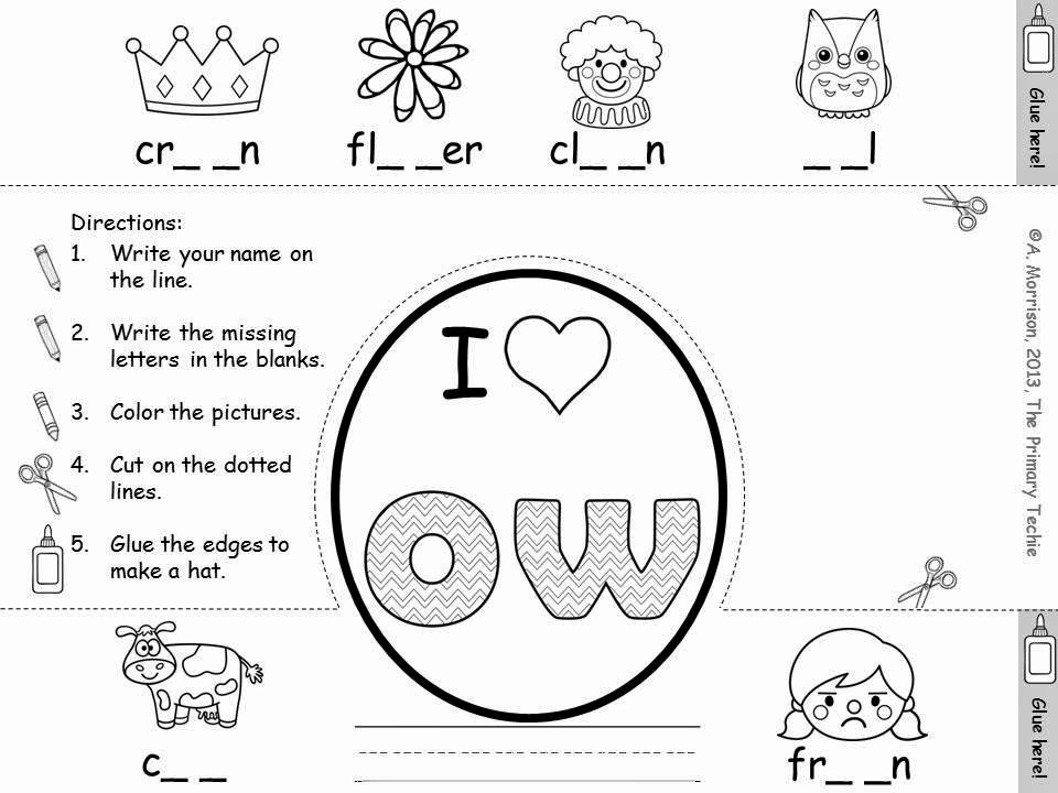 Ou Ow Worksheets 2nd Grade Unique the Primary Techie Fun with Ou and Ow Ideas for Learning