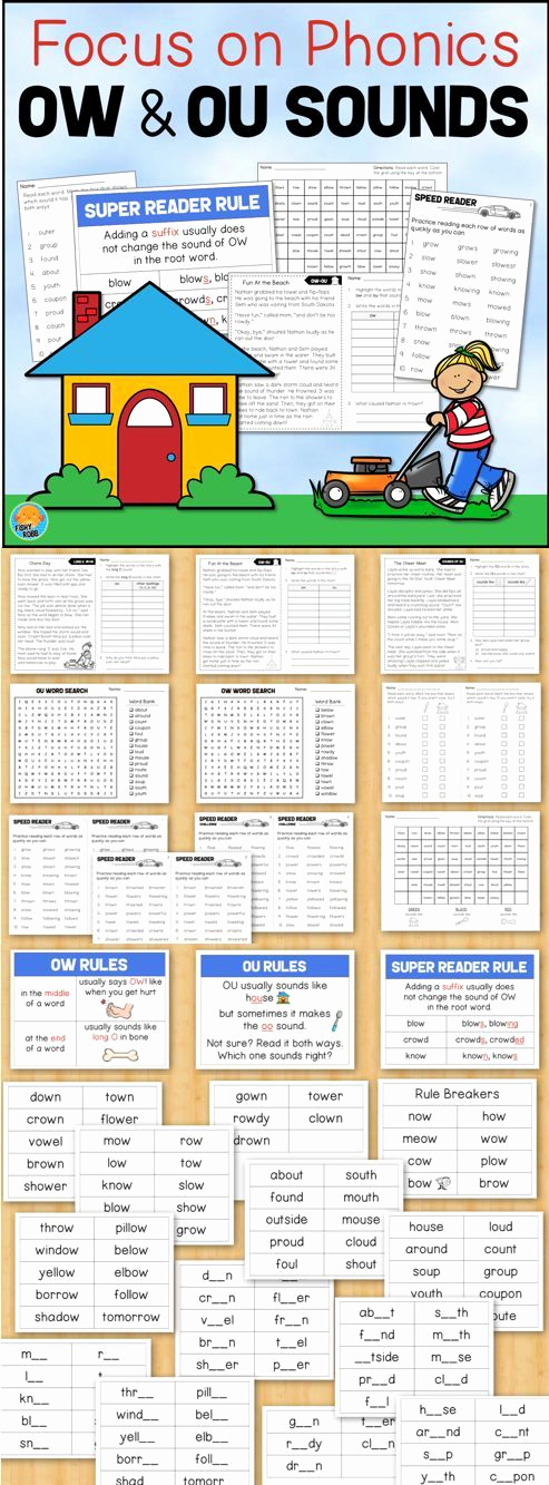 Ou Ow Worksheets 3rd Grade Awesome Ou Ow Activities Worksheets Word Work Phonics Practice and