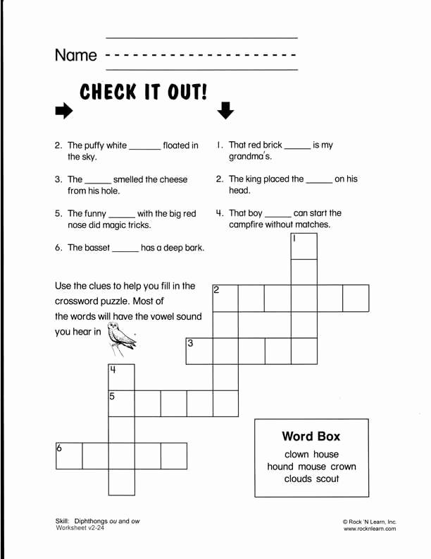 Ou Ow Worksheets 3rd Grade Inspirational Ou Ow Crossword I Am A Teacher ] Pinterest