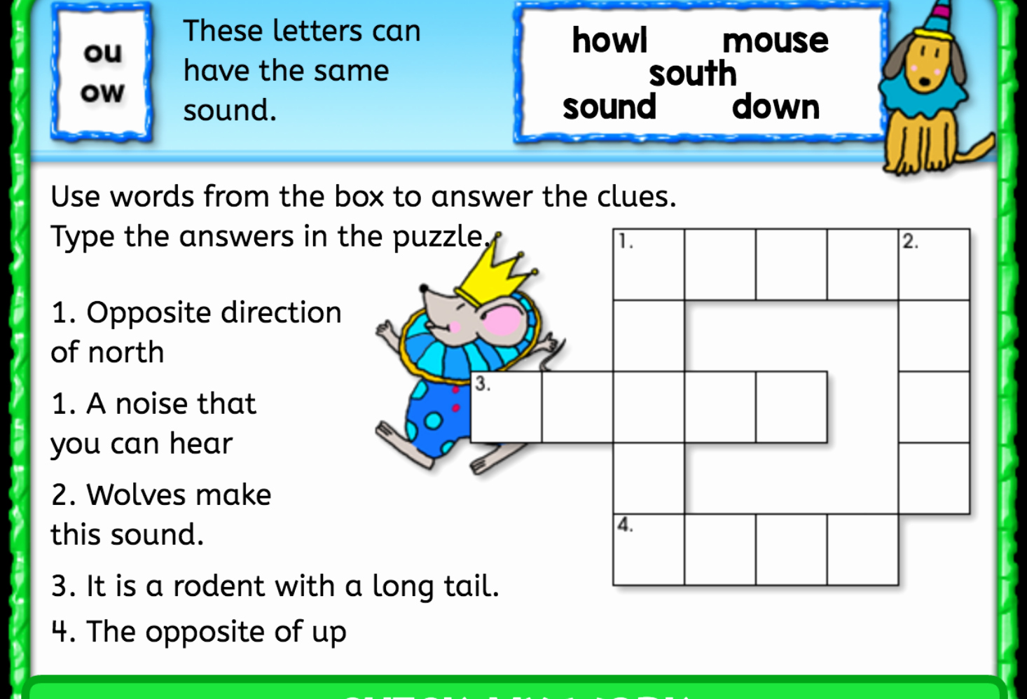 Ou Ow Worksheets 3rd Grade Luxury Ou Ow sound Crossword Puzzle