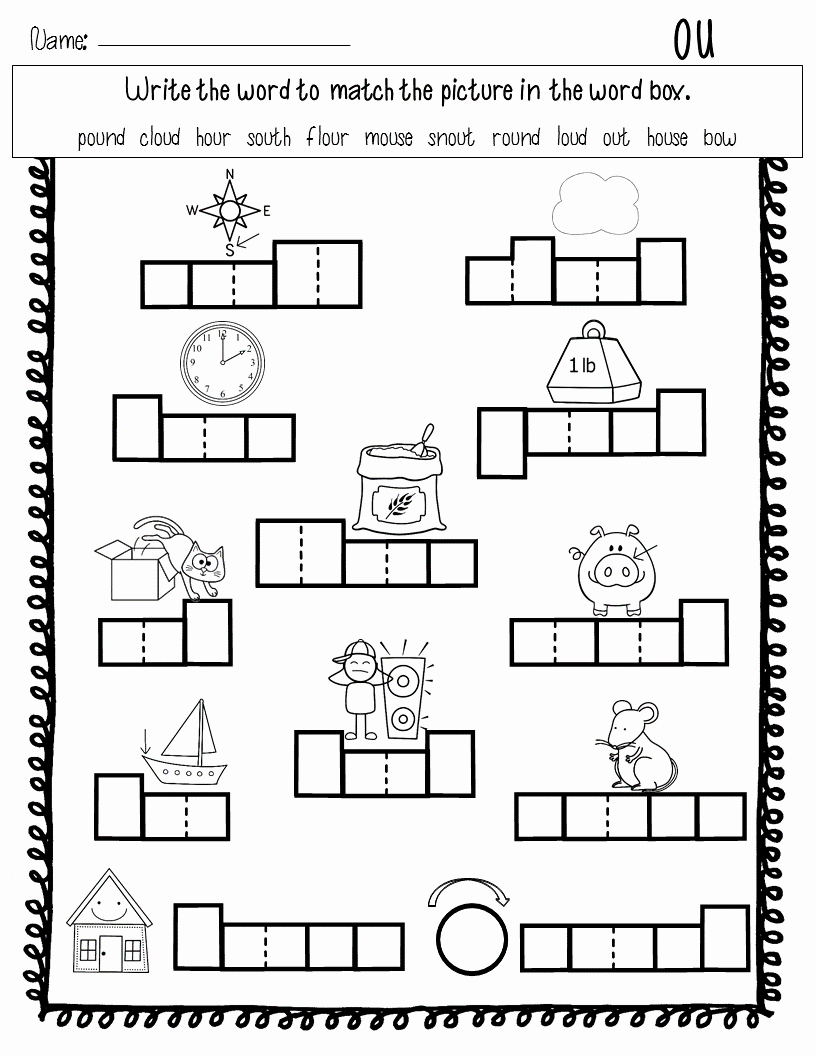 Ou Ow Worksheets 3rd Grade Unique Diphthongs Ou Ow Word Work