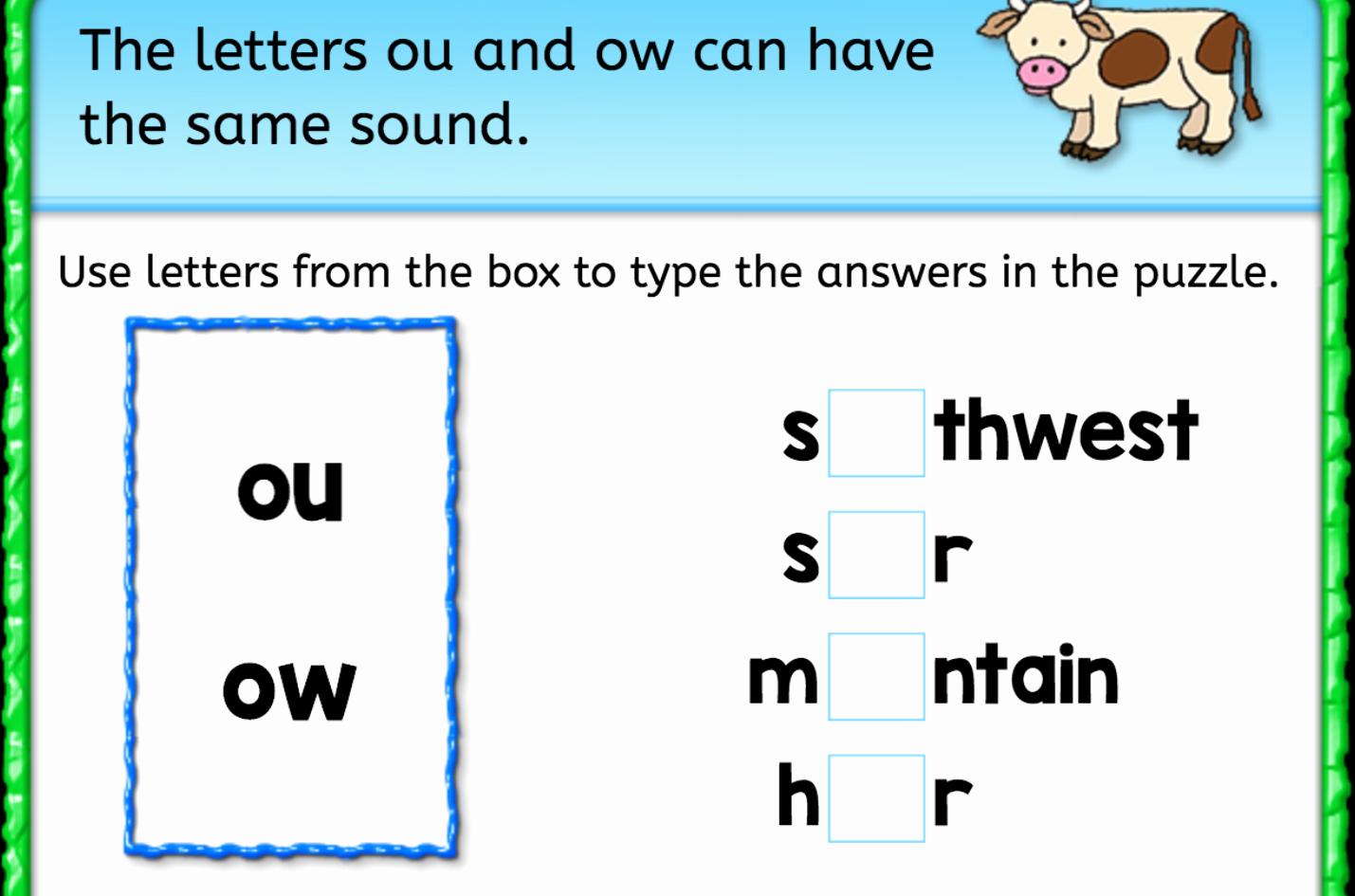 Ou Ow Worksheets 3rd Grade Unique Finish the Word Same sound Ou Ow